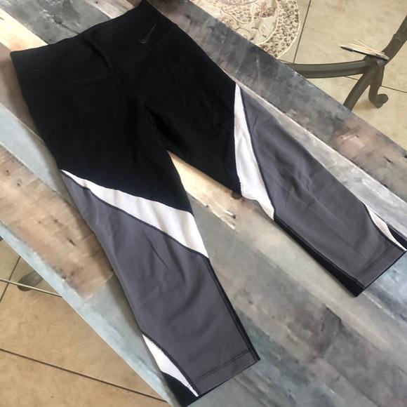 Nike Dri-fit mesh black gray white crop leggings